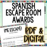 Spanish Break Out Escape Room Award Certificates Free