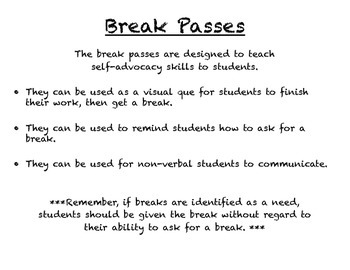 Break Passes for Autistic/Special Needs Students