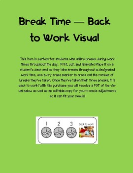 Break Time - Back to Work Visual