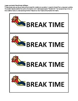 Break Time Cards