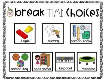 Break Time Choice Board Freebie
