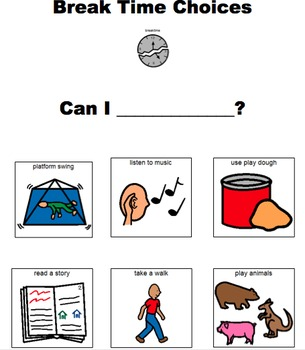 Break Time Choices Visual for Students with Autism