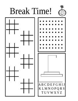 Break Time Free Choice Activity Sheet