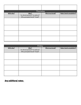 Break Tracker Communication Log - for behavioral or social emotional students
