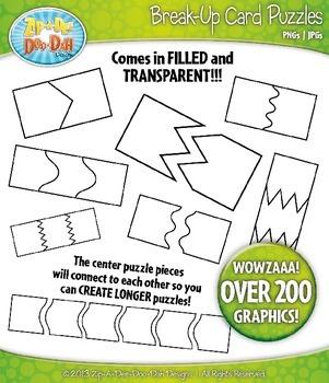 Break-Up Card Puzzles Clipart Set — Over 200 Graphics / Includes Transparent!