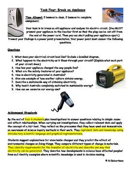 Break an Appliance Science Assessment Task