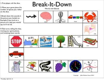 Break-it-Down/Word Segmenting: BLENDS GAME