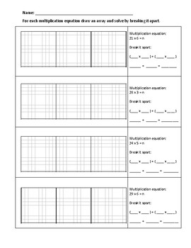 Break it apart Multiplication - Area Models and Equations