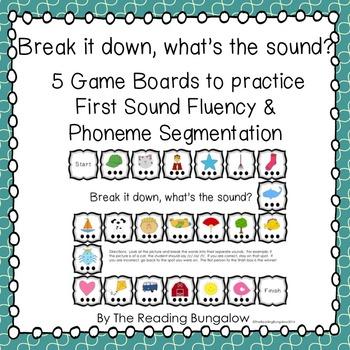 First Sound Fluency/Phoneme Segmentation Gameboards {Great