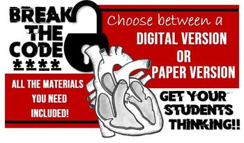 Break the Code: Heart Edition! Printed OR Virtual Game to review the heart!