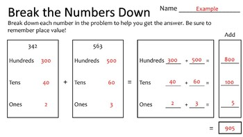 Break the Numbers Down - 3 Digit Addition