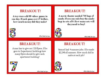 BreakOut Game- WORD PROBLEMS- Multi-Digit Multiplication & Division