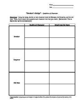 """Breaker's Bridge"" Quality of Character worksheet"