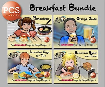 Breakfast Bundle - Animated Step-by-Step Recipes PCS Symbols
