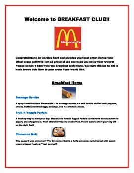 Breakfast Club Reward Menu & Order Form