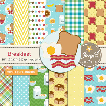 Breakfast Coffee, Bacon Digital Papers and Clipart