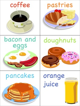 Breakfast Flashcards for the Virtual ESL Classroom - Virtual Classroom Props