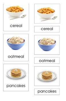 Breakfast Food (3 Part Montessori Cards)
