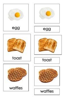 Breakfast Food (3 Part Montessori Cards)