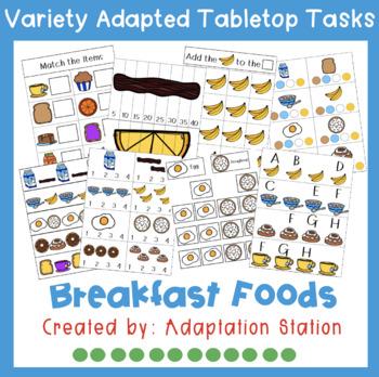 Breakfast Foods Adapted Theme Tabletop Tasks