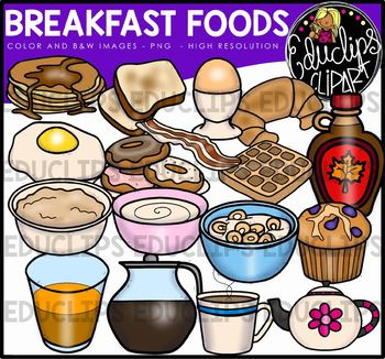 Breakfast Foods Clip Art Bundle {Educlips Clipart}