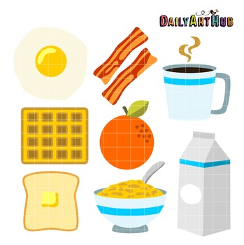 Breakfast Foods Clip Art - Great for Art Class Projects!