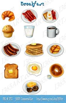 Breakfast Graphics Digital Clip Art