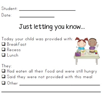 Breakfast/Lunch Club Documentation and Parent Notes