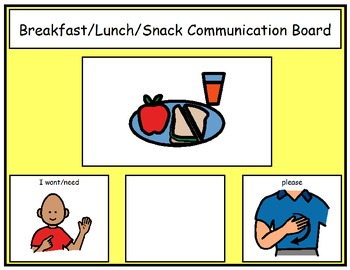 Breakfast, Lunch, and Snack Time Choice Boards