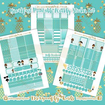 Breakfast Printable Planner Stickers Weekly Kit