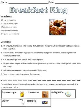 Breakfast Ring Recipe; Informational Text; life skills/cooking special ed