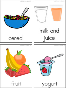 Breakfast Writing Center Tools: Health and Nutrition Words