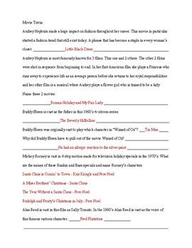 Breakfast at Tiffany's 1961 Movie Fact/Trivia Sheet and Key