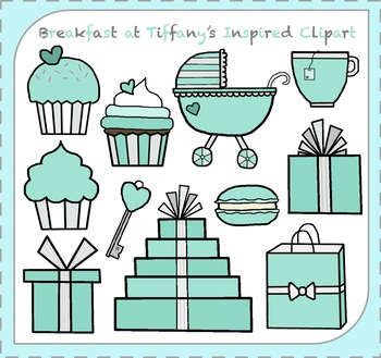 Breakfast at Tiffany's Clipart / Blue Box Clipart / Breakfast Clipart