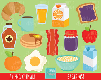 Breakfast clipart, food clipart, breakfast graphics, meals graphics