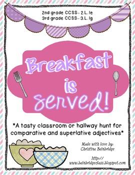Breakfast is Served- Tasty Comparative/Superlative Adjective Hunt!