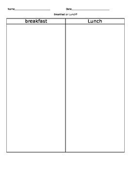 Breakfast or Lunch Sort