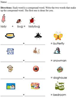 Breaking Apart Compound Words; Picture Clues, Special Ed