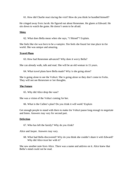 Breaking Dawn by Stephenie Meyer: Study guide with Answers