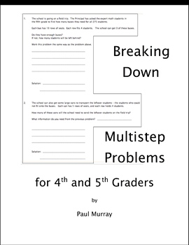 Breaking Down Multistep Problems for 4th and 5th Graders