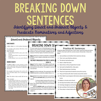 Breaking Down Sentences- 4 Grammar Practice Exercises & a Test/ Ready to Print