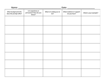 Breaking Down a Writing Prompt Graphic Organizer