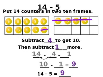 Breaking Numbers Apart to Subtract Strategy with Student Worksheet