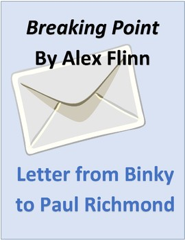 Breaking Point by Alex Flinn Novel Character Letter with rubric