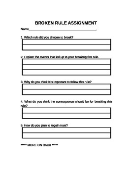 Breaking Rules Assignment