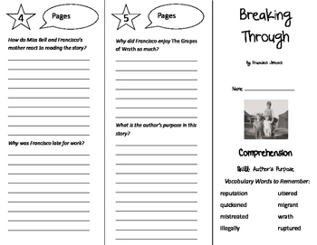 Breaking Through Trifold - California Treasures 6th Grade Unit 1 Week 2