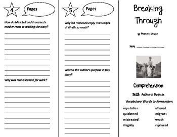 Breaking Through Trifold - Treasures 6th Grade Unit 5 Week 1