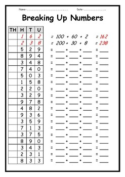 Breaking Up Numbers - 3 Place Value Worksheets by Teaching ...