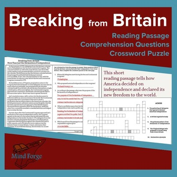 Breaking from Britain Passage, Questions, and Crossword