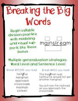 Breaking the Big Words: Syllable Division Activity Set 4 (VC/CV - Vowel Pairs)